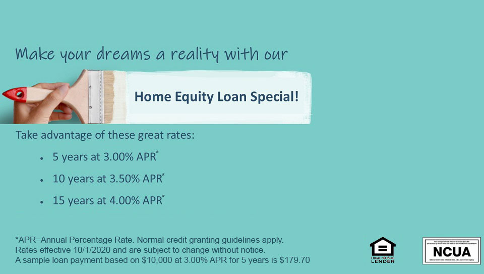 Make your dreams a reality with our home equity loan special. Rates as low as 3% APR